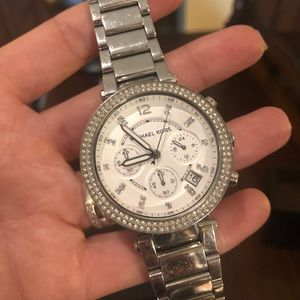 Michael Kors silver watch with rhinestones